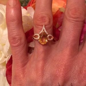 Jewelry - Sterling silver rose gold plated citrine ring